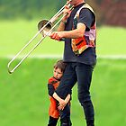 THE TROMBONE PLAYER AND SON ! by kfbphoto