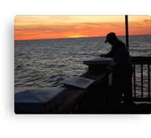 Silhoutte Fisherman Canvas Print