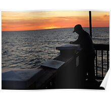 Silhoutte Fisherman Poster