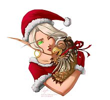 Christmas Blood Elf with Moonkin Hatchling Photographic Print