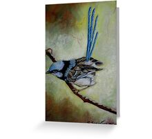 """Blue Wren  """"Perfect View""""  SOLD Greeting Card"""