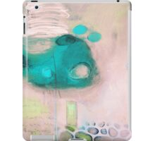 Fossils,Pink Blue Abstract Giclee,Pink white Giclee Print iPad Case/Skin