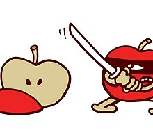 funny ninja apple  by huggymauve