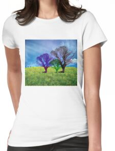 halftone tree Womens Fitted T-Shirt