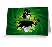 Green Music Background Greeting Card