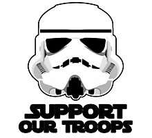 """""""Support Our Troops"""" Trooper Helmet Pun Design by CAP Photographic Print"""