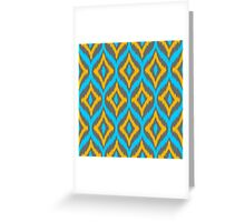 Turquoise & Yellow & Gray Quatrefoil Ikat Pattern Greeting Card