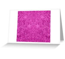 Pink Faux Suede Leather Floral Design Greeting Card