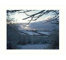 Snow scene in Stithians Art Print