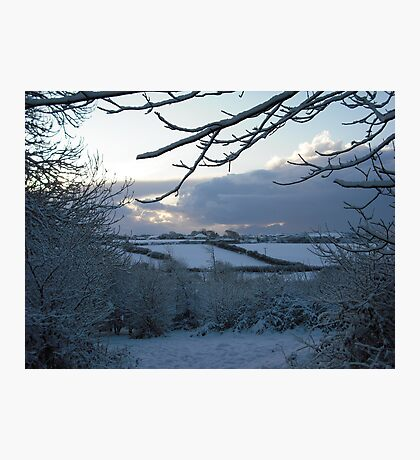 Snow scene in Stithians Photographic Print