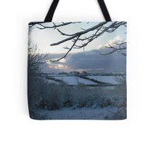 Snow scene in Stithians Tote Bag