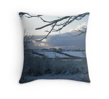 Snow scene in Stithians Throw Pillow