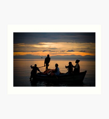 Happy Fishermen, Lake Malawi Art Print
