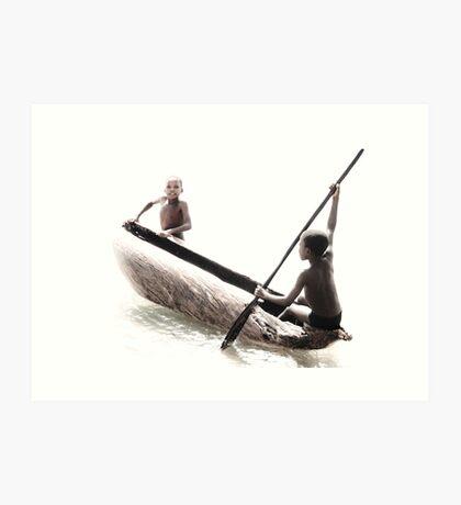 Native Canoe Play Art Print