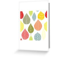 Cute Colorful Abstract Leafs Pattern Greeting Card