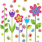 Cute Colorful Cartoon Spring Flowers by artonwear