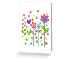 Cute Colorful Cartoon Spring Flowers Greeting Card