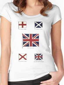 A Complete Guide To Heraldry - Plate IX - Flags - St. George's Cross, St. Andrew's Cross, The Union Jack, St. Patrick's Cross, Union Flag of England and Scottland Women's Fitted Scoop T-Shirt