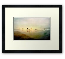 Ten People on A Beach Framed Print