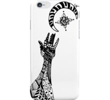 Reaching (Black on White) iPhone Case/Skin