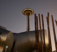 Space needle and music museum seattle at dusk by pmacimagery