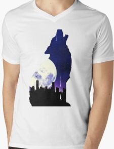 Midnight Wolf Mens V-Neck T-Shirt