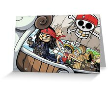 Johnny Depp meets Straw Hat Pirates Greeting Card