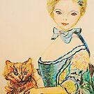 Blue Girl and Her Cat by Ming  Myaskovsky