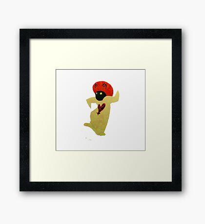 White Mushroom Heartless Framed Print