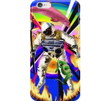 Zandozan Jumps the Flaming Hoop in the Rays of Neptune with a Boom Box and a Pink Dolphin iPhone Case/Skin