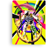 Zandozan Jumps the Flaming Hoop in the Rays of Neptune with a Boom Box and a Pink Dolphin Canvas Print