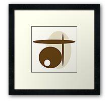 Tan and brown, mod art, Asian 4-stroke technique  Framed Print