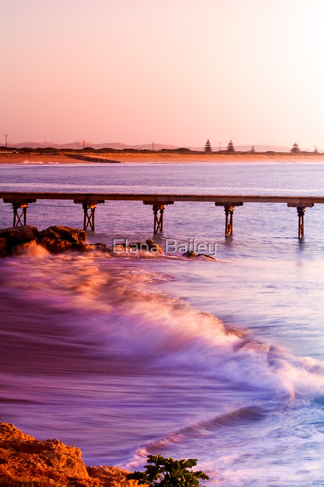Crashing waves as the sun rises at Beachport by Elana Bailey
