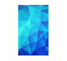 Abstract Polygon Multi Color Cubizm Painting in ice blue Art Print