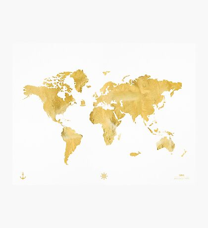 World map, gold Photographic Print