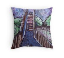 Footbridge over the railway Throw Pillow