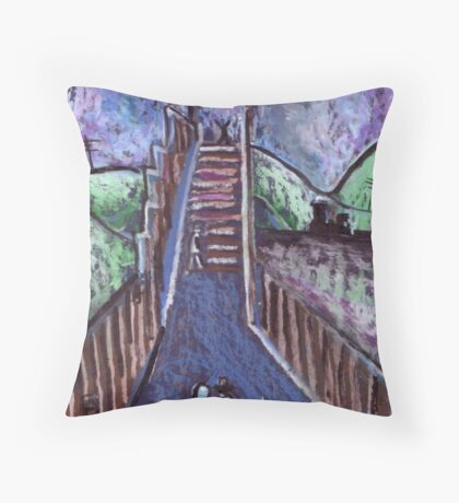 Footbridge over the railway Throw Pillow