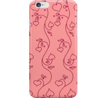 seamless pattern with hearts on the pink background iPhone Case/Skin