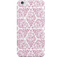 seamless pattern with pink ornaments on the white background iPhone Case/Skin