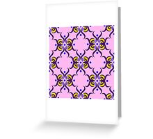 Seamless pattern with purple ornament on the pink background Greeting Card