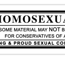 homosexual warning label Sticker
