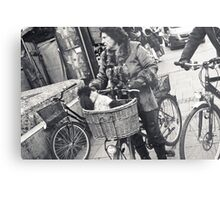 dog getting a bicycle ride Metal Print