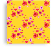 seamless pattern with roses and hearts on the yellow Canvas Print