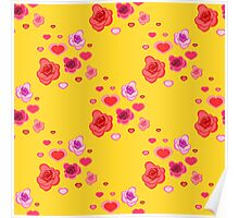 seamless pattern with roses and hearts on the yellow Poster
