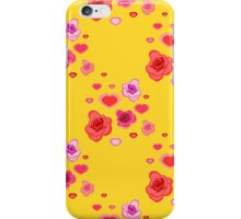 seamless pattern with roses and hearts on the yellow iPhone Case/Skin