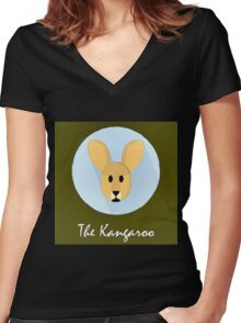 The Kangaroo Cute Portrait Women's Fitted V-Neck T-Shirt