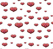 seamless pattern with volumetric hearts on the white background by Ann-Julia