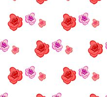 Spring seamless pattern with roses on the white background by Ann-Julia