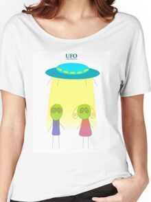UFO vector illustration wiht flying saucer on the white background Women's Relaxed Fit T-Shirt