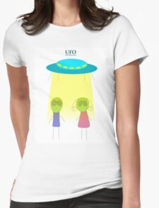 UFO vector illustration wiht flying saucer on the white background Womens Fitted T-Shirt